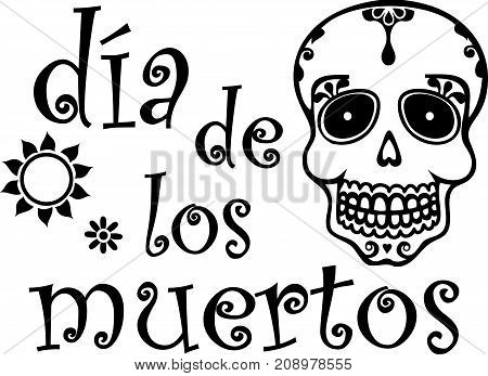 Spanish Day of the Dead Graphic Skull