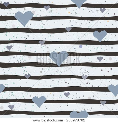 Cute Seamless Pattern with hand drawn hearts and black stripes