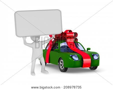 car in gift packing on white background. Isolated 3D illustration