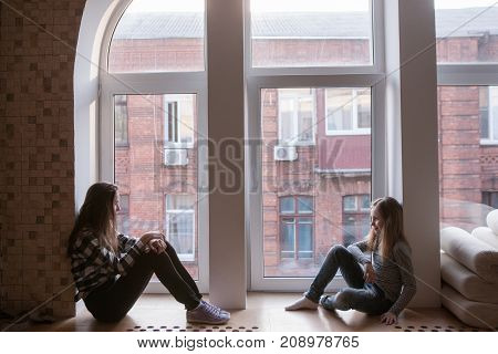 Female friendship problems. Gloomy mood. Offended teenage girl, lack of communication. Autumn melancholy, insult concept
