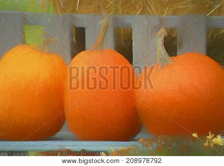 A digitally altered photograph of three pumpkins sitting in a bench in front of a hay bale