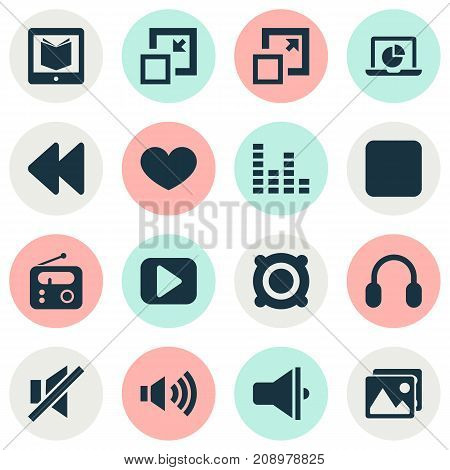 Media Icons Set. Collection Of Decrease, Pause, Mute And Other Elements