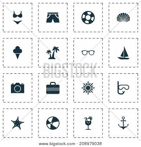 Sun Icons Set. Collection Of Lifesaver, Sea Star, Armature And Other Elements