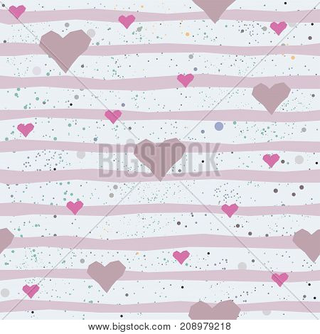 Cute seamless pattern with hand drawn pink hearts and stripes. Vector Illustration