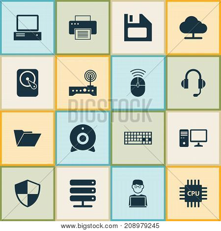 Gadget Icons Set. Collection Of Tree, Router, Dossier And Other Elements