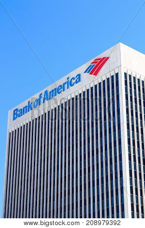 DOWNTOWN LAS VEGAS, NV, USA - OCT 10, 2017: Bank of America Center in Las Vegas Downtown. It is a Class A Office skyscraper and was completed in 1974.