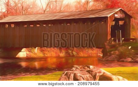 A digitally altered photograph of a covered bridge in central Michigan