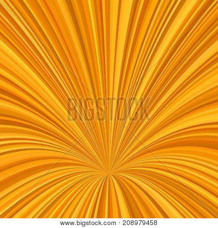Orange curved ray burst design background - vector graphic from striped rays