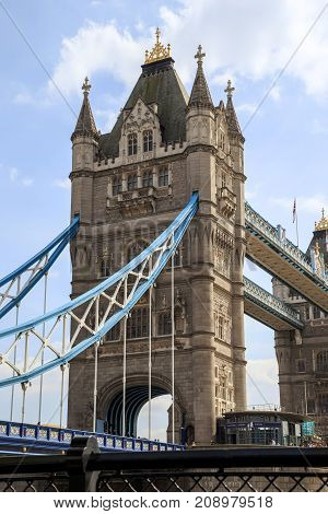LONDON, GREAT BRITAIN - MAY 16, 2014: This is one of the pillars of the Tower Bridge.