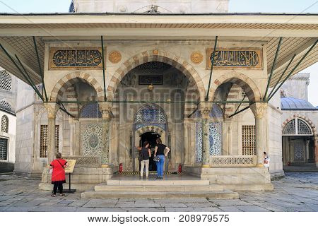 ISTANBUL, TURKEY - SEPTEMBER 13, 2017: The mausoleum of Sultan Selim II is one of the most beautiful in the city which was built by the architect Sinan.