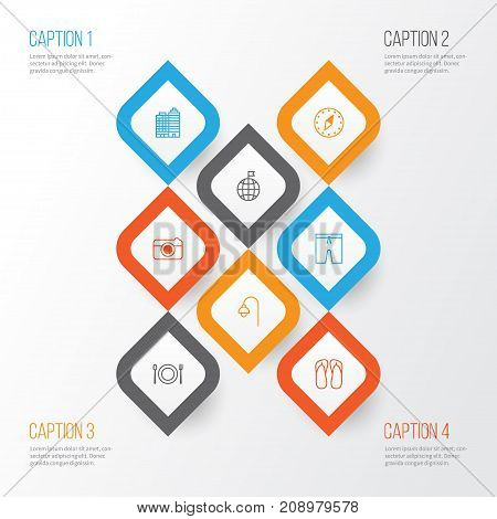 Tourism Icons Set. Collection Of Lamppost, Travel Direction, Cardinal Direction And Other Elements