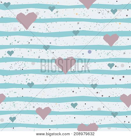 Cute seamless pattern with hand drawn small hearts and blue stripes. Vector Illustration