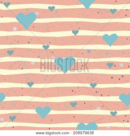 Cute seamless pattern with hand drawn hearts and stripes. Vector Illustration