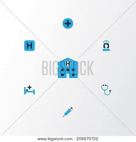 Medicine Colorful Icons Set. Collection Of Polyclinic Helipad, Hospital, Syringe And Other Elements