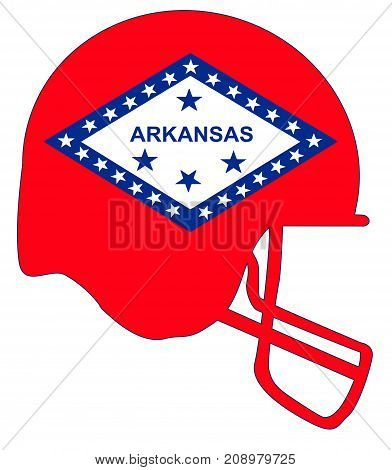 The flag of the USA state of Arkansas below a football helmet silhouette