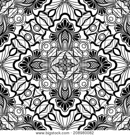 Black And White Seamless Pattern With Mosaic Floral Motifs