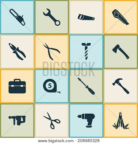 Handtools Icons Set. Collection Of Meter, Clamp, Hammer And Other Elements