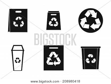 Recycle material icon set. Simple set of recycle material vector icons for web design isolated on white background
