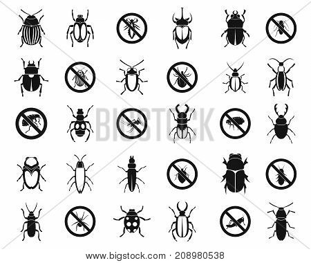 Bugs icon set. Simple set of bugs vector icons for web design isolated on white background