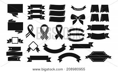 Ribbon icon set. Simple set of ribbon vector icons for web design isolated on white background
