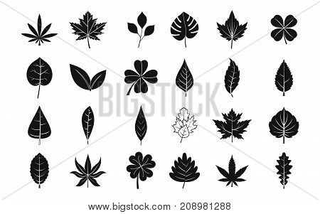 Leaf icon set. Simple set of leaf vector icons for web design isolated on white background