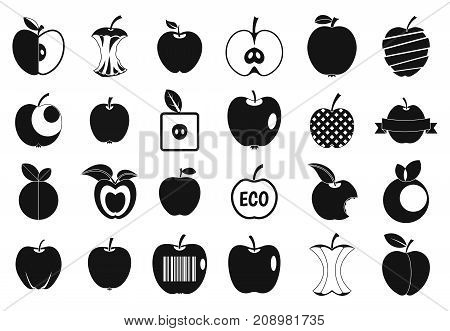 Different apple icon set. Simple set of different apple vector icons for web design isolated on white background