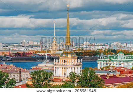 Beautiful View To Spires Of Admiralty And Peter-pavel's Fortress From Isaac Cathedral, Saint Petersb