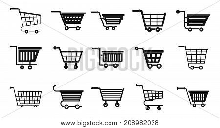 Shop cart icon set. Simple set of shop cart vector icons for web design isolated on white background