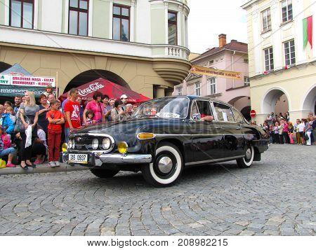 Czech Republic Novy Jicin - 5. 9. 2015: Annual celebration of Novy Jicin; photo of part of the parade - Tatra 603 model 1968 (2-603) famous car made in nearby city Koprivnice with contemporary vehicle registration plate