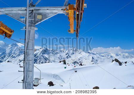 Old funicular Russia's North Caucasus. Elbrus mountain