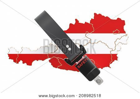 Austrian map with safety belt. Security and protect or insurance concept 3D rendering