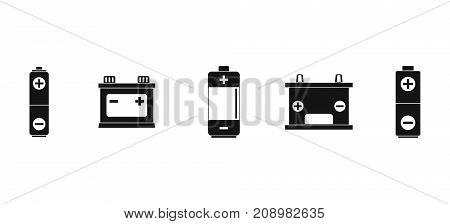Battery icon set. Simple set of battery vector icons for web design isolated on white background