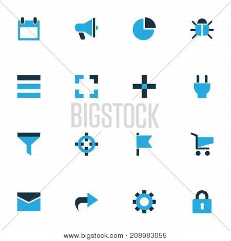 Interface Colorful Icons Set. Collection Of Socket, Letter, Goal And Other Elements