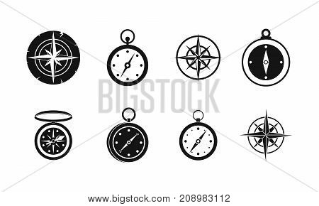 Compass icon set. Simple set of compass vector icons for web design isolated on white background