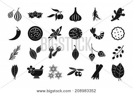 Spices icon set. Simple set of spices vector icons for web design isolated on white background