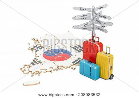 South Korea travel concept. Flag on map with suitcases and signpost 3D rendering
