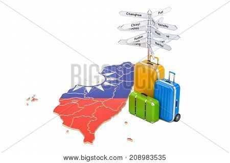 Taiwan travel concept. Flag on map with suitcases and signpost 3D rendering