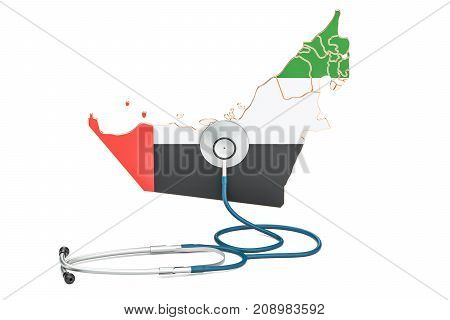 UAE map with stethoscope national health care concept 3D rendering