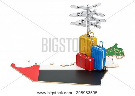 UAE travel concept. United Arab Emirates flag on map with suitcases and signpost 3D rendering