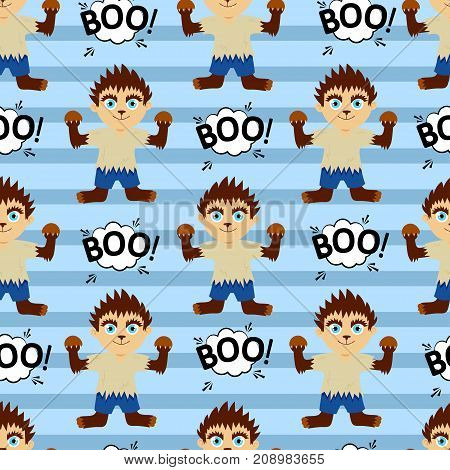 Abstract Seamless Pattern For Girls Or Boys. Creative Vector Background With A Werewolf, Halloween.