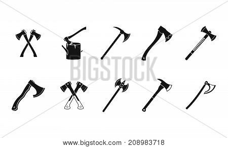 Axe icon set. Simple set of axe vector icons for web design isolated on white background