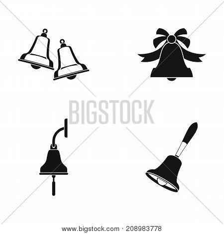 Bell icon set. Simple set of bell vector icons for web design isolated on white background