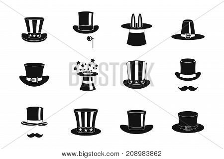 Top hat icon set. Simple set of top hat vector icons for web design isolated on white background