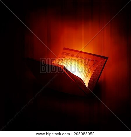 Glossy Islamic Religious Book Quran Shareef silhouetted shiny background for Muslim Community Festival celebration.