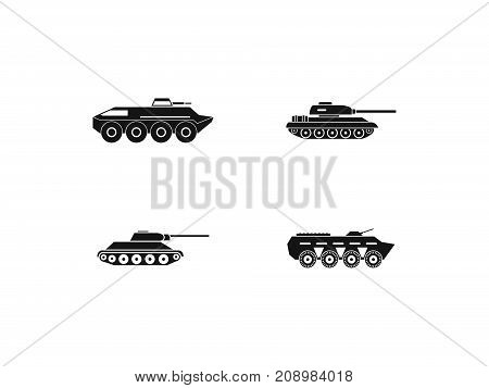 Tank icon set. Simple set of tank vector icons for web design isolated on white background