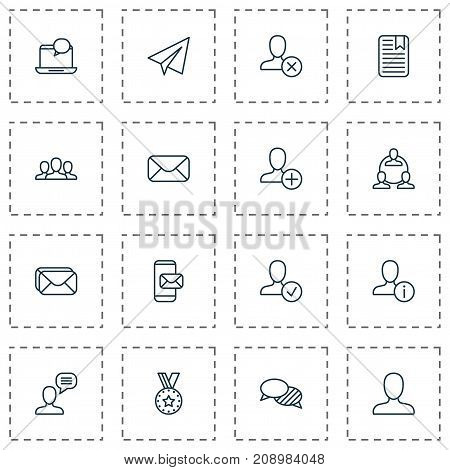 Communication Icons Set. Collection Of Personal Data, Phone Messaging, Society And Other Elements