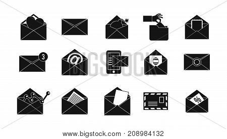 Mail icon set. Simple set of mail vector icons for web design isolated on white background