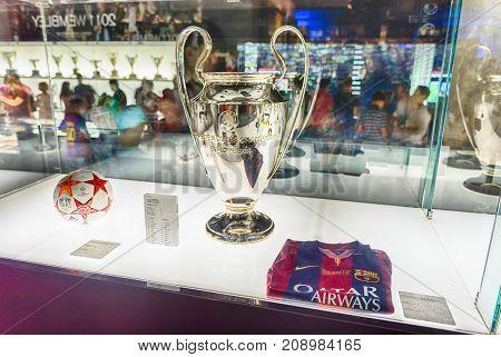 Champions League Trophy, Camp Nou Museum, Barcelona, Catalonia, Spain