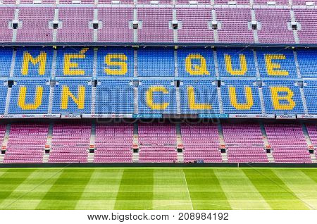 Fc Barcelona's Motto In Camp Nou Stadium, Barcelona, Catalonia, Spain