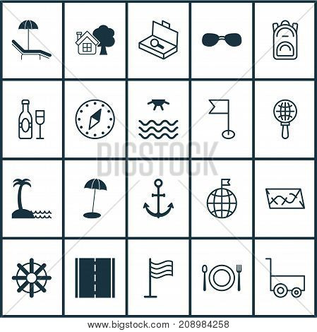 Tourism Icons Set. Collection Of Sunrise, Ship Hook, Globe Search And Other Elements